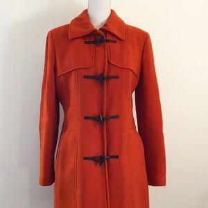 Banana Republic Orange Wool Toggle Zip Close Coat